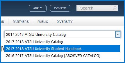 Image of University Student Handbook Toggle Access